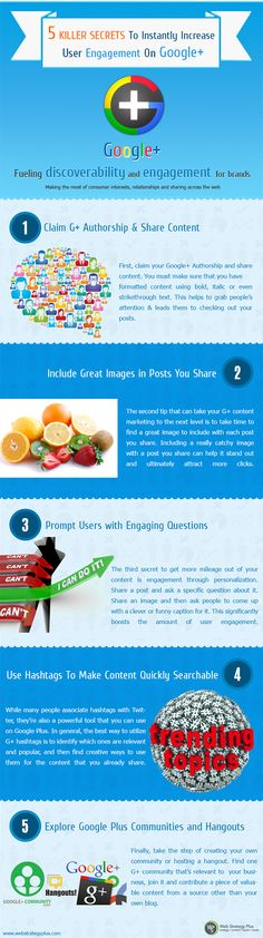 Great #infographic on what you should be doing to get more engagement on your G+ http://buff.ly/NxMgL7. Good overview, enjoy!