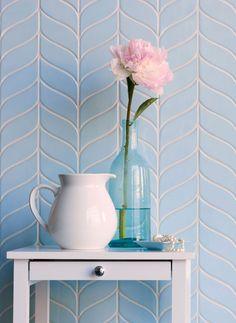 Walker Zanger Avenue Curved Chevron in Ice Blue White Herringbone Tile, Chevron Tile, Walker Zanger, Base Moulding, Dream Bath, Blue Tiles, Style Tile, Glass Mosaic Tiles, Decoration