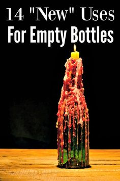 """Have old bottles lying around? Reuse them! These 14 """"New"""" Uses for old bottles will have you upcycling those glass or plastic bottles in no time! What a great way to save money!"""