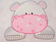 African Hippo Machine Applique Embroidery Design  4x4 by KCDezigns, $3.00