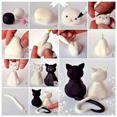 Tutorial für verliebte Katzen, geformt aus Fimo