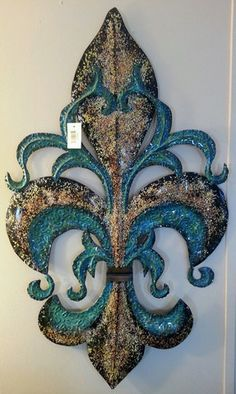 www.decorlefleur.com Fleur De Lis Wall Plaque, Blue u0026 Gold - Decor