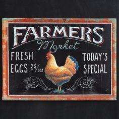 Farmer's Market and Fresh Eggs Sign