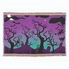 Graveyard black, purple, turquoise Halloween Throw Blanket
