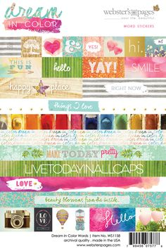 Websters Pages - Dream in Color Collection - Cardstock Stickers - Words at Scrapbook.com