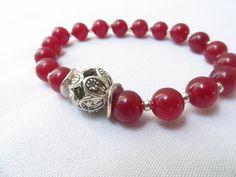 Cranberry Jade Christmas Gemstone Red Candy Jade by RitzyandGlitzy, $21.00