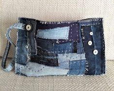 Evening Denim Bag Upcycled Denim Clutch Purse Sashiko Boro | Etsy Denim Clutch Bags, Denim Bag, Clutch Purse, Handmade Fabric Bags, Handmade Clutch, Denim Vintage, Vintage Buttons, Denim Scraps, Stitch Patch