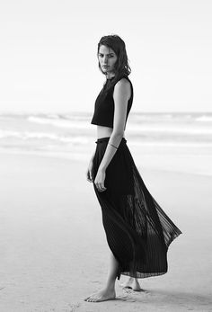 Black  crop top, pleated long skirt. cameron russell for witchery ss14