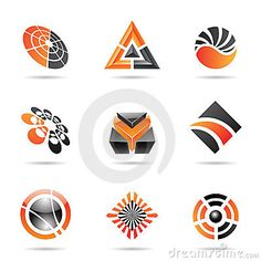 Abstract black and orange Icon Set 23 by Cihan Demirok, via Dreamstime