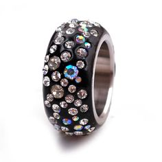 Black-White-CZ-Aurora-Borealis-Pave-Crystal-ETERNITY-Stainless-Steel-Ring-Size-9