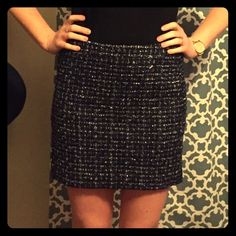 A thicker winter skirt Goes great with leggings, boots, and a cardigan. A tad sparkley, navy blue, grey, and white. J. Crew Skirts