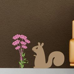 Squirrel and Flower Bunch Vinyl Wall Decal. $14.00, via Etsy.
