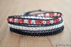 Triple Wrap Bracelet // Red and Black and Silver // by Gomeow, $19.95