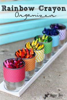 Rainbow Crayon Holder - Sugar Bee Crafts - - great craft for back-to-school organization Crayon Organization, Classroom Organization, Classroom Decor, Crayon Storage, Organizing Crayons, Future Classroom, Turtle Classroom, Marker Storage, Ribbon Storage