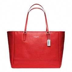 Saffiano large city tote in vermillion. WANT!