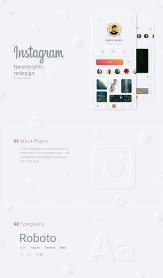 Instagram Neumorphic Redesign Concept on Behance Web Design Tips, App Ui Design, Mobile App Design, Interface Design, Tool Design, Interface App, Mobile Ui, Web Layout, Layout Design