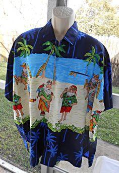 Rima Santa Claus Hawaiian Aloha Loud Shirt Size 3XL Holiday Beach Band Music Fun #Rima #ButtonFront