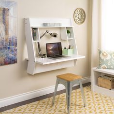 Prepac Studio Floating Desk in White with Yellow Pattern Rug 8 Wall Mounted Desks That Save Room in Small Spaces desk areas 8 Wall-Mounted Desks That Save Room in Small Spaces Mesa Home Office, Home Office Desks, Office Furniture, Office Den, Office Items, Small Office, Furniture Sets, Furniture Buyers, White Office