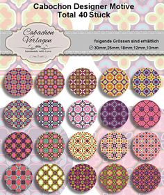 Printable Digital Collage Sheet Circles Cabochon Earring