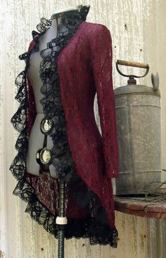 Burgundy Lace Jacket with a Victorian Steampunk Attitude. Burgundy Lace with black lace ruffle trim. Once Upon A Time this was a lace button up Costume Steampunk, Steampunk Clothing, Steampunk Jacket, Gothic Clothing, Gothic Steampunk, Steampunk Necklace, Steampunk Outfits, Steampunk Fashion Women, Hippie Clothing