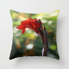 """THROW PILLOW/ INDOOR COVER (16"""" X 16"""")  taiche (taiche) Red Canna Lily"""