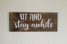 sit and stay awhile - summer porch decor - porch signs - patio signs - patio decor - rustic home decor - summer decor - housewarming gift by TheGreenDoorhomedeco on Etsy Rustic Patio, Rustic Outdoor, Diy Patio, Rustic Decor, Outdoor Decor, Patio Ideas, Backyard Ideas, Wooden Decor, Wooden Crafts