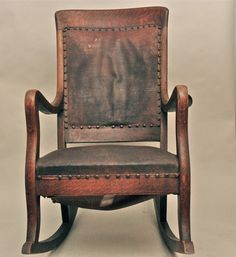Antique High Back Oak Rocking Chair With Leather Seat And Back