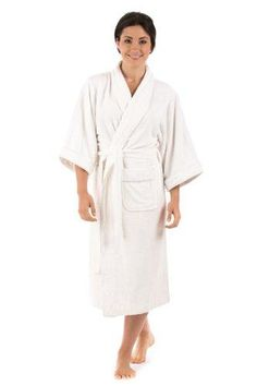 85811e6466 Bamboo Terry Cloth Robe for Women - Ecovaganza - Terry Bath Spa Robe in  Natural White (Bamboo Viscose Cotton) - An Eco Friendly Gift of Luxury -  Women s ...