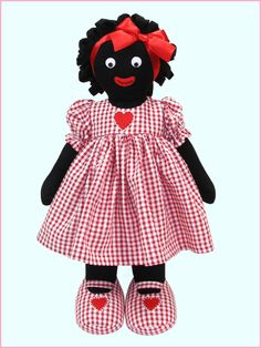53972R - Heart 41cm Golly - Red Gingham - Golliwog