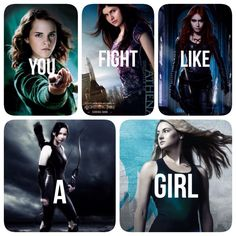 Harry potter (Hermione), percy jackson (Annaberth), mortal instruments (Clary), hunger games (Katniss), divergent (Tris)