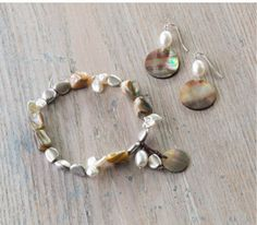 Mother-of-pearl shell stretch bracelet and mother-of-pearl drop earrings | www.jjill.com