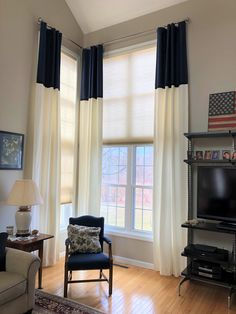 Color blocking drapes is a great way to incorporate a couple (or a few) colors at the same time or to add visual interest with solid fabrics. Our client chose a classic navy blue and white combination for her flat panel drapes which ties together perfectly with her living room. Color Block Curtains, Drapery Styles, Navy And White, Navy Blue, Color Blocking, Ties, Fabrics, Couple, Flat