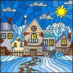 Illustration in stained glass style, urban landscape,snow-covered roofs and trees against the sky, sun , clouds and snow Glass Painting Designs, Stained Glass Designs, Stained Glass Patterns, Paint Designs, Mosaic Art, Mosaic Glass, Wal Art, Stained Glass Quilt, Glass Wall Art