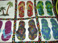 slippahs and palm trees quilt