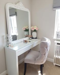 arly post tonight so I can watch the footy! I just HAD to show you my beautiful new dressing table chair from now the room Dressing Table With Chair, White Dressing Tables, Dressing Table Design, Dressing Room Mirror, Dressing Room Decor, Dressing Rooms, Room Ideas Bedroom, Diy Bedroom Decor, Home Decor