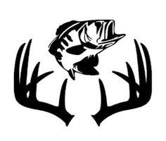 Bass Fisherman Deer Hunter Combo Surf And Turf/Antler & Bass Car/Truck Decal
