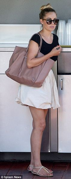 8ba3e7b532fa Lauren Conrad dons open-back top and skirt on lunch date with friend   dailymail