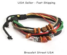 Leather Bracelet Wrap Bracelet Handmade by BraceletStreetUSA, $6.95
