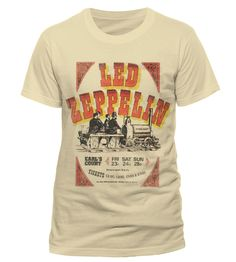 Official T Shirt LED Zeppelin Beige Earls Court Tickets Vintage ALL Sizes | eBay