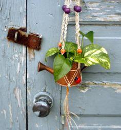 Sunset- Handmade Natural Hemp Macrame Plant Hanger- Hanging Basket- Purple-Orange