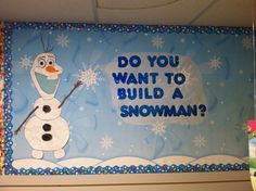 Olaf bulletin board—Do you want to build a snowman? Free handed this little guy myself :) made with paper, glitter, paint, and tissue paper. Olaf Bulletin Board, Writing Bulletin Boards, Kindergarten Bulletin Boards, Winter Bulletin Boards, Classroom Bulletin Boards, Preschool Classroom, Classroom Themes, Preschool Crafts, Classroom Door