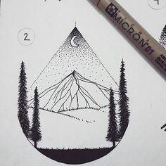 Flash tattoo, paisagem minimalista. ✏..Details.. #drawing #draw #blackwork #pointilism #flashtattoo #blackandwhite #art .