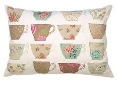 Laura Ashley appliquéd teacup cushion...gorgeous detail...instant modern country chic...