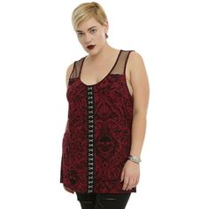 Red Hook Eye Tank Top Plus Size Hot Topic (96 BRL) ❤ liked on Polyvore featuring tops, plus size skull tank tops, womens plus tops, plus size tank tops, plus size skull tops and red singlet