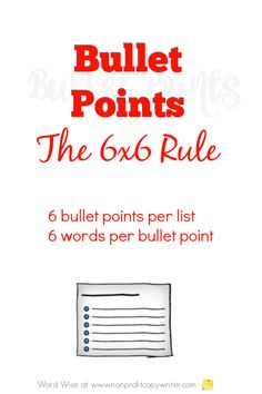 Bullet points: the rule with Word Wise at Nonprofit Copywriter Easy Writing, Article Writing, Blog Writing, Writing Tips, Writing Websites, Blog Websites, Writing Resources, Professional Writing
