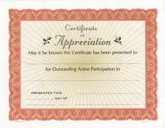 free printable certificate of recognition
