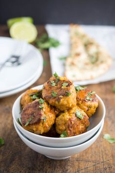 Thai Red Curry Chicken Meatballs. A quick weeknight dinner that takes less than 30 minutes to make. | chefsavvy.com #recipe #chicken #dinner