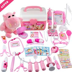 MorTime 42 Pcs Examine and Treat Pet Vet Play Set, Children's Medical Toy Set, Animal and People Play Sets, Helps Children Develop Empathy, Educational Equipment, Pink * Continue to the product at the image link. (This is an affiliate link)