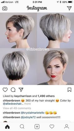 Love this cut and she does great videos on how to style short hair. 2019 stylish short bob haircuts that balance your face shape Short Bob Hairstyles, Cool Hairstyles, Haircut Short, Bob Haircuts, Short Bob With Undercut, Pixie Haircut For Round Faces, Short Undercut, Asymmetrical Hairstyles, Undercut Hairstyles