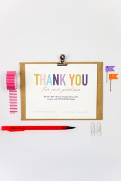 Business Thank You Cards Template INSTANT DOWNLOAD   Naturally Colorful  Business Thank You Card Template